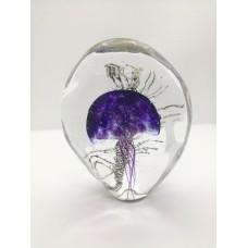 Sculpture dans la masse Méduse plate violette .