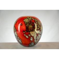 Vase Boule rouge et doré .