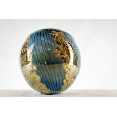 Vase Boule bleu argent et doré .